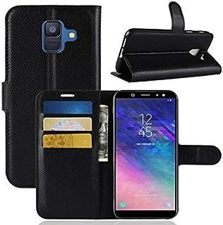 COPHONE® Funda de Cuero Negro Samsung Galaxy A6 2018 Funda Funda Protectora Funda Monedero Negro