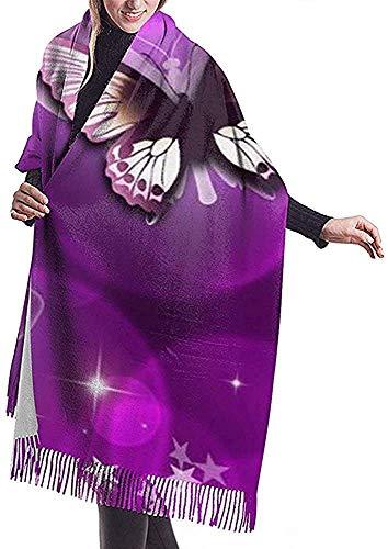 Zseeda Bufanda de cachemira con estampado de mariposa púrpura Chal de abrigo de bufanda casual para mujer grande