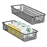 mDesign Juego de 2 cestas de almacenaje multiuso – Resistentes cestas organizadoras, en malla de metal y con asas – Compactas cestas metálicas para cocina, despensa y otras estancias – negro mate