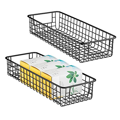 mDesign 2er-Set Allzweckkorb – flexibler Aufbewahrungskorb aus Metalldraht – kompakter, robuster Drahtkorb mit Griffen – universelle Gitterbox für Küche, Speisekammer und andere Räume – mattschwarz