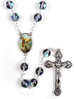 Collar De Rosario Católico De San Miguel Arcángel con Cuentas Redondas Transparentes Y Brillantes De Piedra Natural