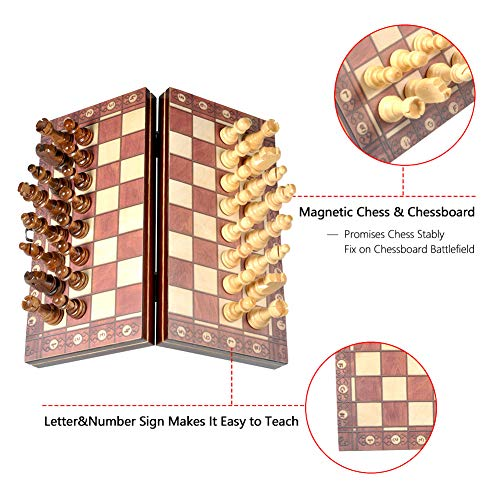 Schachspiel Holz Reise Schachspiel Magnetische Schachfiguren Bord Folding Turnier Spielbrett Outdoor Schachspiel für Kinder & Erwachsene Gehirn Übung Spiel