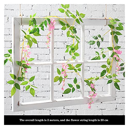 JSJJAES Artificial Flowers 2M Wisteria Artificial Flowers Vine Garland Wedding Arch Decoration Fake Plants Foliage Rattan (Color : Pink)