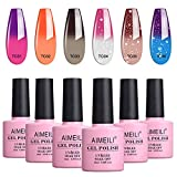 AIMEILI Temperature Color Changing Soak Off UV LED Chameleon Gel Nail Polish Set Of 6pcs X 10ml- Kit Set 13