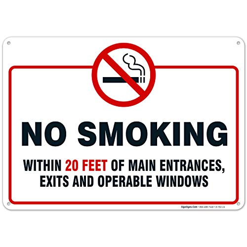 No Smoking Within 20 Feet of Building Sign, 10x14 Rust Free Aluminum UV Printed, Easy to Mount Weather Resistant Long Lasting Ink Made in USA by SIGO SIGNS