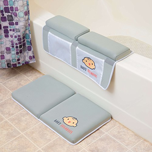 Bath Kneeler with Elbow Pad Rest Set - Padded Knee Mat for Tub Bathing & Bathroom Time - Bathtub Kneeling Waterproof Cushion Mats - Infant or Baby Toy Accessories - Bath time Knee Saver - Shower Gift