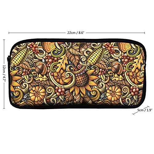 Caja de artículos de papelería pequeña y grande con cremallera, diseño de plantas, frutas y verduras, herramienta de colección para woker de oficina, hombres y mujeres unisex