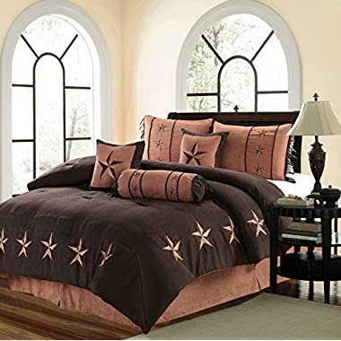 MB Collection 7 Piece WESTERN Lodge Oversize QUEEN (96 X96 ) Comforter Set Dark Brown / Chocolate with Dark and Light Brown Star - Embroidered Lone Star Barbed Wire Micro Suede Bedding