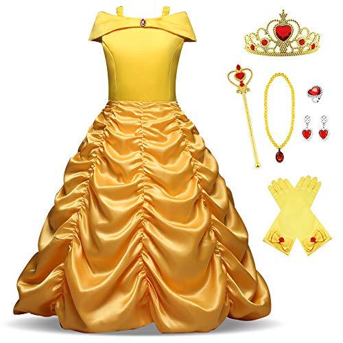 O.AMBW Cosplay Simbólico Vestido Amarillo de Princesa Belle de la Bella y la Bestia Disfraz de Princesa para Niña con Accesorios Gratuitos para Carnaval Navidad Año Nuevo