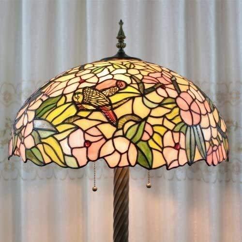 Dekorative Stehlampe Magische Beleuchtungsoptionen Moderne Stehlampe Raumleuchte Tiffany 50,8 cm Europäischer Stil Buntglas Kolibri und Blume Stehlampe 3-flammig