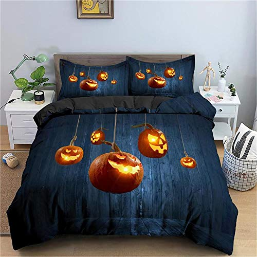 MENGBB Duvet Cover Set 3D Effect Halloween yellow pumpkin lantern 135x200cm Total 4 Size, give away pillowcase, Duvet Cover single bed with 2 Pillow Cases 50x75cm Microfiber Bedding Quilt Cover Set wi