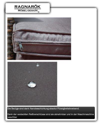 Ragnarök-Möbeldesign DEUTSCHE Marke - EIGNENE Produktion - 8 Jahre GARANTIE Garten Möbel Glas Polster PolyRattan Set Gartenmöbel Tisch Stuhl Hocker BRAUN - 9
