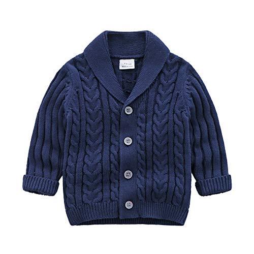 Feidoog Infant Baby Boys Cardigan Crochet Sweater V-Neck,Toddler Knit Button up Knitted Pattern Pullover Sweatshirt,Blue,3-6M
