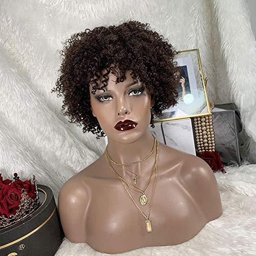 TOOCCI Short Kinky Curly Human Hair Wigs, 100% Brasilianisches Remy Haar Vollkopf lockige Welle Bob Perücken, leimlos Keine Spitze Front Perücken Schwarze für Frauen (8 Zoll, Farbe 1B)