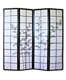 PEGANE Biombo japonés de Madera Negro Dibujo bambú de 4 Paneles