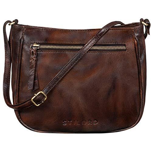 STILORD 'Samira' Handtasche Leder Frauen zum Umhängen Vintage Umhängetasche für Damen-Tasche Abendtasche Elegante Echtleder Tasche, Farbe:azorra - braun