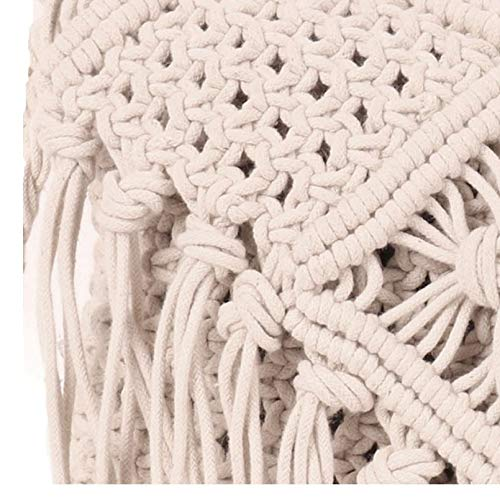 ASTRID White Macrame Flap Over Sling Bag For Womens And Girls