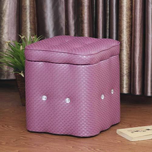 GXQDL-01 Baúl Puff Taburete Presidente otomana Caja de Almacenamiento de Las heces tapizada Puf Puf Cuadrado de heces Silla, 40 * 40 * 40cm (Color : Purple)
