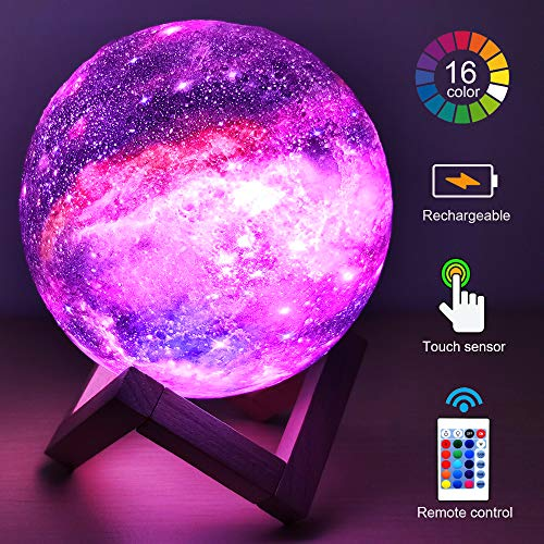 HYODREAM 3D Moon Lamp Starry Light Kids Night Light 16 Color Change Touch and Remote Control Galaxy Light As a Gift for Boys or Girls(5.9inch)