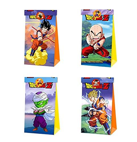 12pcs Dragon Ball Party Gift Bag Bolsas de dulces de cumpleaños Bolsa de papel reutilizable Kids Goku Party Cajas para suministros de fiesta de cumpleaños temáticos Regalar para niños