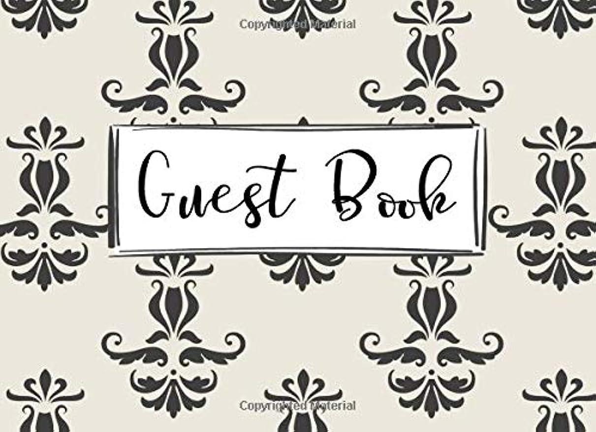 履歴書通常コジオスコGuest Book: Gray Damask Pattern Cream Off White Lined Guestbook Register Sign In Book for Birthday Party, Quinceanera, Sweet 16, Anniversary, Graduation, Vacation Rental, Cabin, Art Gallery, Guest Room, Airbnb, Bathroom, Retirement (150 Pages 8.25 x 6)