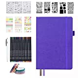 Dotted Journal Set, 224 Numbered Pages Faux Leather A5 Grid Hard Cover Purple Notebook Planner with Index Inner Pocket, Abundant Accessories for Beginners Diary Schedule by Feela