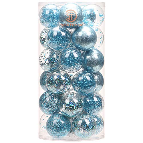Sea Team 60mm/2.36' Shatterproof Clear Plastic Christmas Ball Ornaments Decorative Xmas Balls Baubles Set with Stuffed Delicate Decorations (30 Counts, Babyblue)