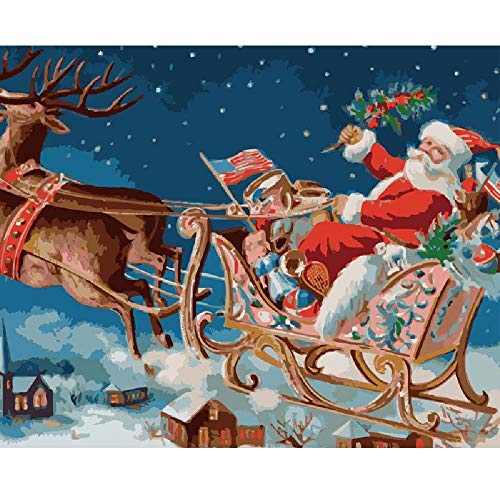 MYSZS Paint By Numbers Kits for Adults And Kids,With Brushes And Acrylic Pigment for Pre-Printed Canvas Art Home Decoration (Santa Claus giving gifts) 16*20 inch Without Frame