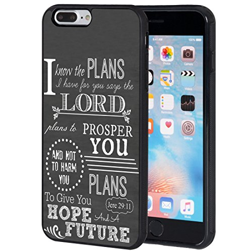 AIRWEE iPhone 7 Plus Case,iPhone 8 Plus Case, Slim Anti-Scratch Shockproof Silicone TPU Back Protective Cover Case for Apple iPhone 8 Plus/iPhone 7 Plus,Bible Verse Christian Quote Jeremiah 29:11