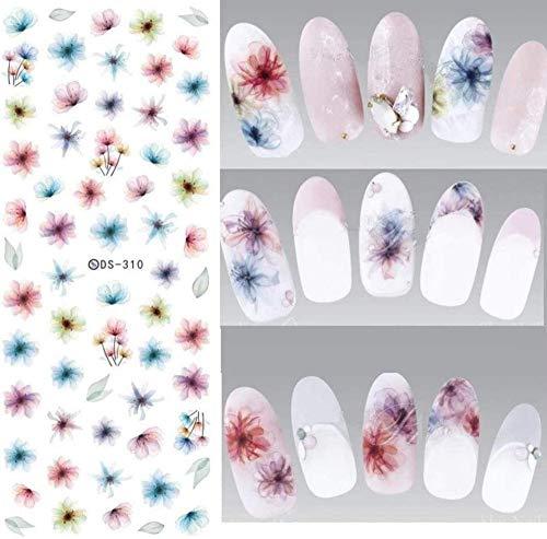 SRTYH Nagel Sticker Design Wassertransfer Nail Art Aufkleber Regenbogenfedern Nagelaufkleber Wasserzeichen Fingernägel Aufkleber IB