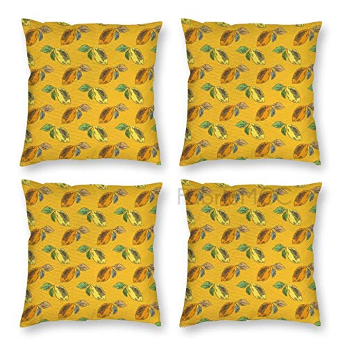 Pillow Covers 18 x 18 Inch Set of 4, Fruits Yellow And Orange Colored Exotic Lemons with Colorful Leaves, Multicolor Decorative Throw Pillow Case Cushion Cover for Sofa Couch Sofa Home Decor