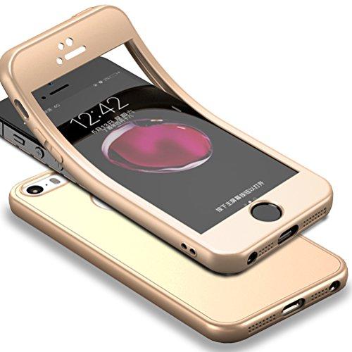 Für iPhone SE Hülle + Panzerglas, HICASER 360 Grad Komplettschutz Vorder und Rückseiten Schutz Schale Ganzkörper-Koffer Soft TPU Schutzhülle für iPhone 5 / 5s Gold