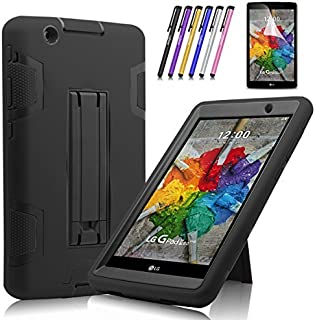Cherrry Shock Proof [Impact Resistant] [Corner Protection] Case Build in Kickstand for LG G Pad X 8.0 / LG GPad III 3 8.0 Inch Tablet Case +Screen Protector Film and Stylus Pen (Black)