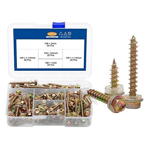 Rewd 100 stuks Hex wasmachine hoofd zelfborende tappen boutenset M4.8 verzinkt koolstofstaal zeshoek flens kop houtschroef kit (Color : 01)