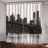 YMLJH Cortinas de Ventana Schwarzweiss - New York City 2 x 140x245cm(An x Al) Cortina Opaca Anti Ruido Ojales para Salón, Dormitorio y Habitación