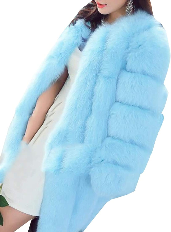 Esast Women Long Sleeve Faux Fur Shawl Coat Party Wedding Cape Wrap Jackets