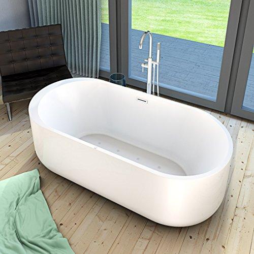 AcquaVapore freistehende Badewanne Wanne Whirlpool FSW16 170cm mit Luftmassage, Armatur:mit Armatur AFSW02 +170.-EUR