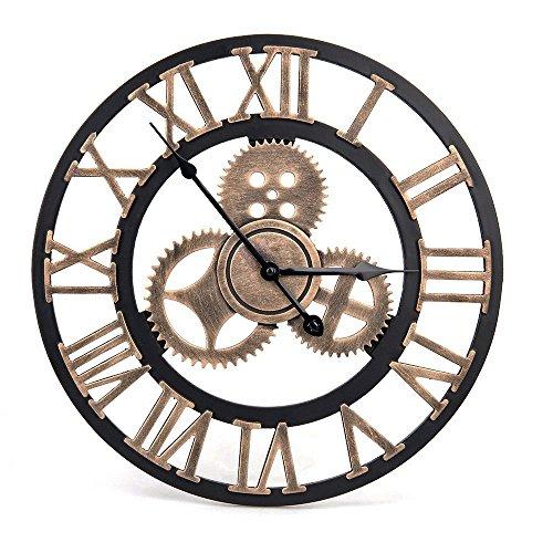 Horloge Murale Vintage - Style Artistique européen avec Couronne décorative et Chiffres Romains - Fabriquée à la Main en 3D pour Salon, Cuisine, Chambre, Bar, café