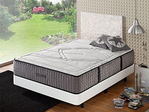 Colchón viscoelástico Titán | Ideal para Personas con Dolores de Espalda |3 centímetros de viscoelástica | Colchón de firmeza Alta | 6 Capas de Espumas Premium | (135x190)