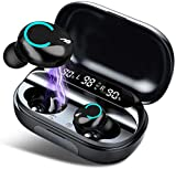 Cuffie Bluetooth 5.0 Auricolari Bluetooth Senza Fili IPX8 Impermeabile Cuffie Wireless 150H Playtime in Ear Sportiva Earbuds 6D Suono Stereo con Microfono Display LCD Touch Control per iOS & Android