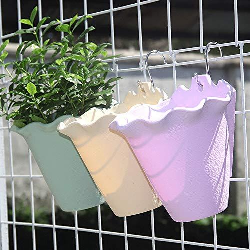 Bloempot om op te hangen, 3 stuks, bloemenmand, bloempotten, bloempotten buiten, planten voor kleerhangers ter decoratie, 1 beige + 1 groen + 1 violet voor binnendecoratie