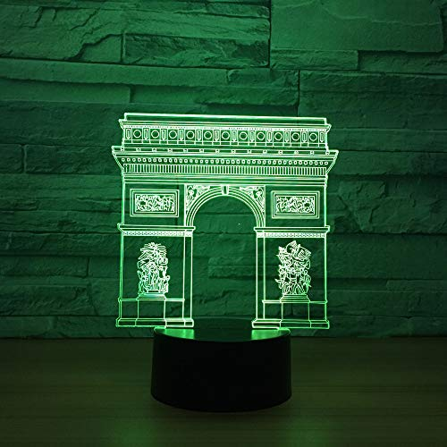 Arco Del Triunfo Luz De La Noche 3D Led Lámpara Ilusión Óptica Arte Mesita De Noche Deco 7 Colores Con Control Remoto Mesa Lámparas,Regalo Perfectos Para Niño, Regalo De Navidad