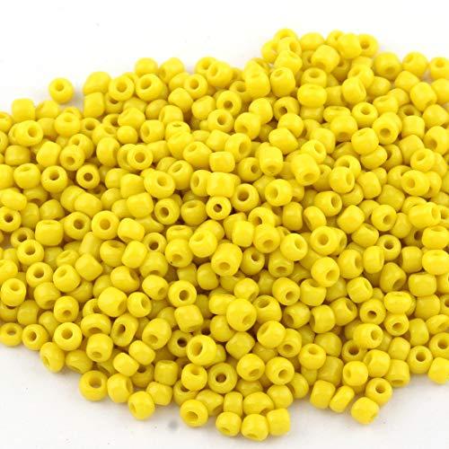 10 G poney Beads 4 mm jaune 6//0 teinte jaune d/'or opaque indien perles verre