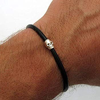 Mens Skull Bracelet - Sterling Silver Skull bracelet for Men - Gift for Him