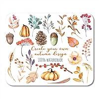 マウスパッド水彩画秋の植物カボチャモミコーン小麦スパイク黄色の葉秋の果実ドングリ手ノート、デスクトップコンピューターオフィス用品のための白いマウスパッド