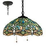 Tiffany Style Hanging Lamp W16H40 Inch Sea Blue Stained Glass Shade Crystal Bead Dragonfly Chandelier Light Ceiling Fixture S147 WERFACTORY Dining Living Room Bedroom Study Coffee Bar Hallway Loft