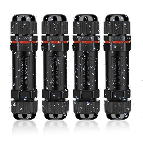 Kabelverbinder Wasserdicht IP68, Verbindungsmuffe Erdkabel Verbindungsbox 3-polig für Ø1-13 mm Kabeldurchmesser, Verteilerdose Abzweigdose Außen Wasserdicht, 4 Stück Schwarz