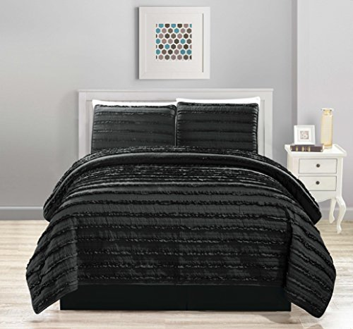 All American Collection New 4pc Pleated Ruffle Bedspread/Quilt Set with Bedskirt (Queen Size, Black - Straight Ruffle)