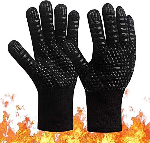 BBQ Grillhandschuhe, 1472 °F / 800 °C Extrem hitzebeständige Ofenhandschuhe, rutschfeste Silikon-Kochhandschuhe zum Barbecue, Kochen, Backen, Grillen, BBQ