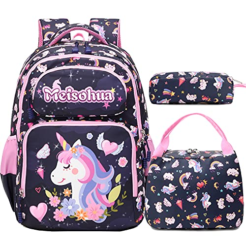 Mochila Escolar Mochilas Niñas Infantil Unicornio Mochila Chicas Escuela Mochila Primaria 3 en 1 Sets de útiles Escolares,Girls School Backpack Set